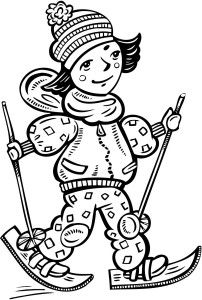 Printable Coloring Pages Of A Girl Cross Country Skiing With
