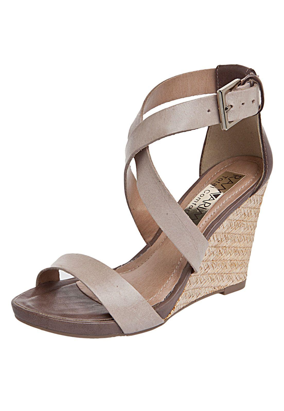 d8952e93c Sandália Ramarim Tiras Bege   Sapatos femininos   Sandalias ramarim ...