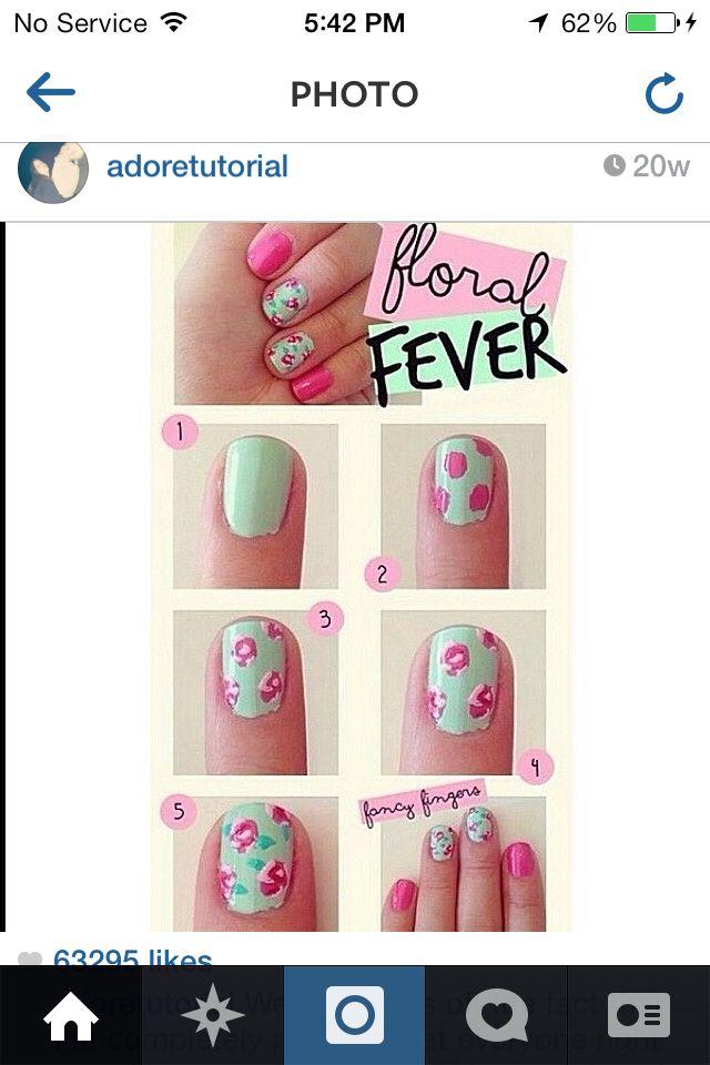 Floral Nail Art Instructions Nails Pinterest