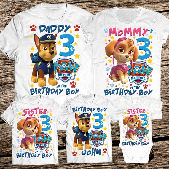 Paw Patrol Family Birthday Shirt Personalized