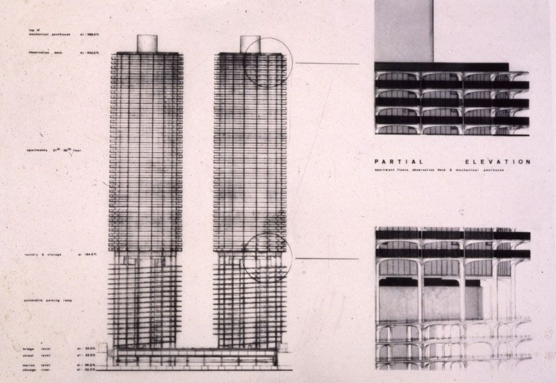 Section Of Architectural Plans For Marina Towers C Early 1960 S