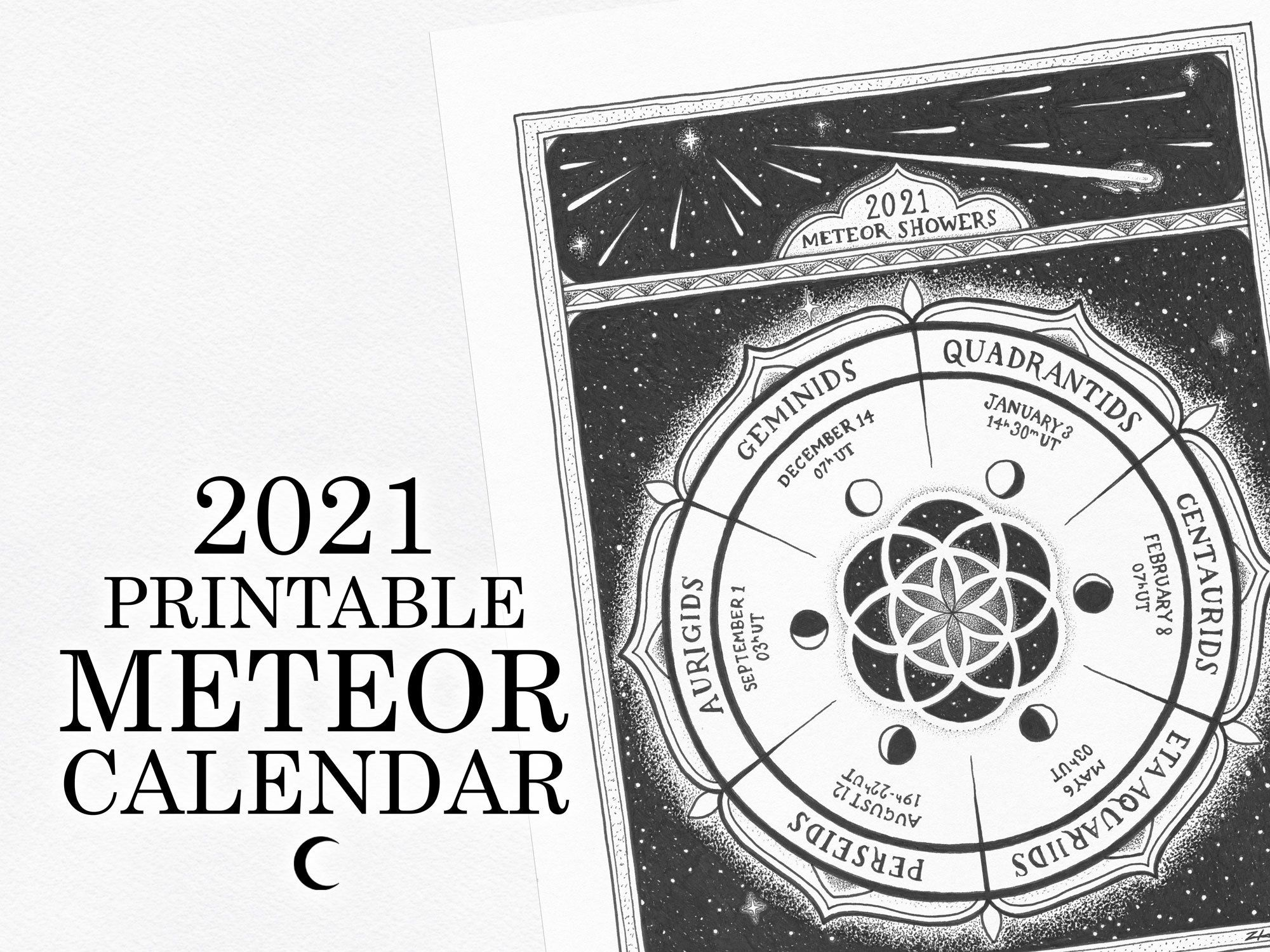 Meteor Shower Calendar 2021 2021 Printable Meteor Showers Calendar   Etsy   Meteor shower