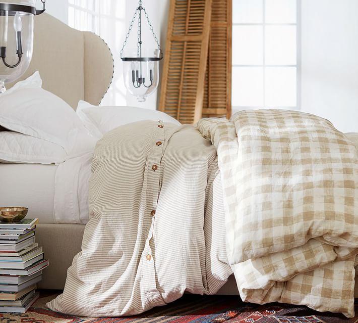 Rhett Check Print Duvet Cover Sham Neutral Bedding Master