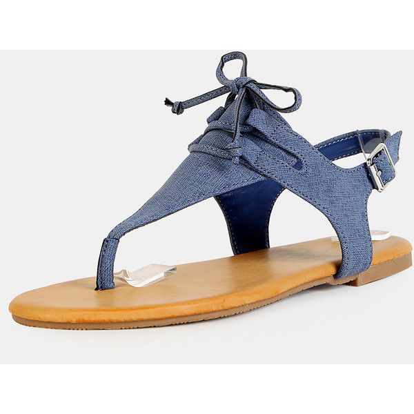75fcf8bbb7957 SheIn(sheinside) Denim Thong Tie Sandals DENIM ( 24) ❤ liked on Polyvore