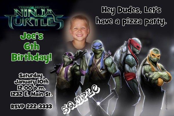 Teenage Mutant Ninja Turtles Movie Birthday Invitations