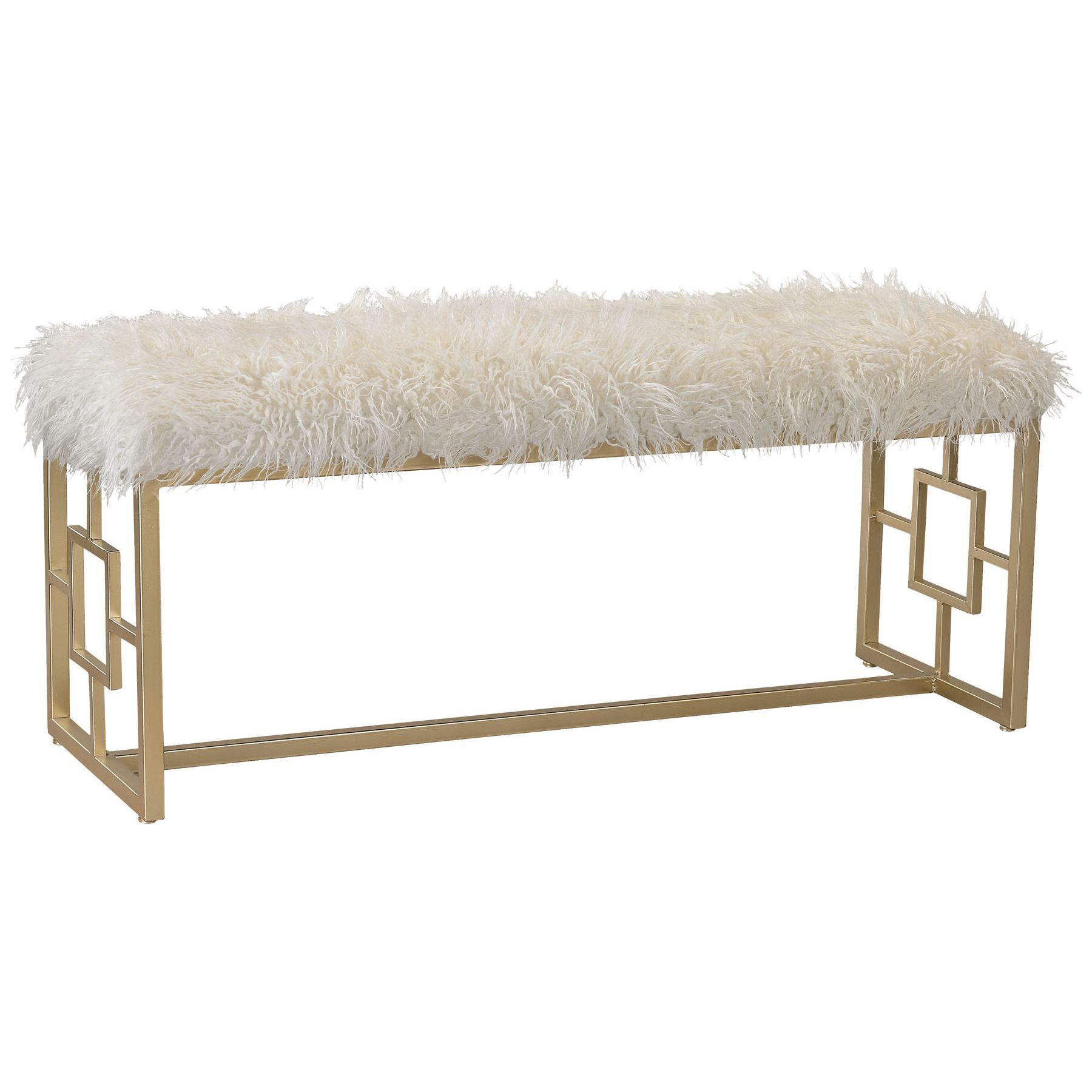 Betty Retro Double Bench In White Faux Fur W Gold Geometric Base By Elk Home Furniture White Bench Gold Bench
