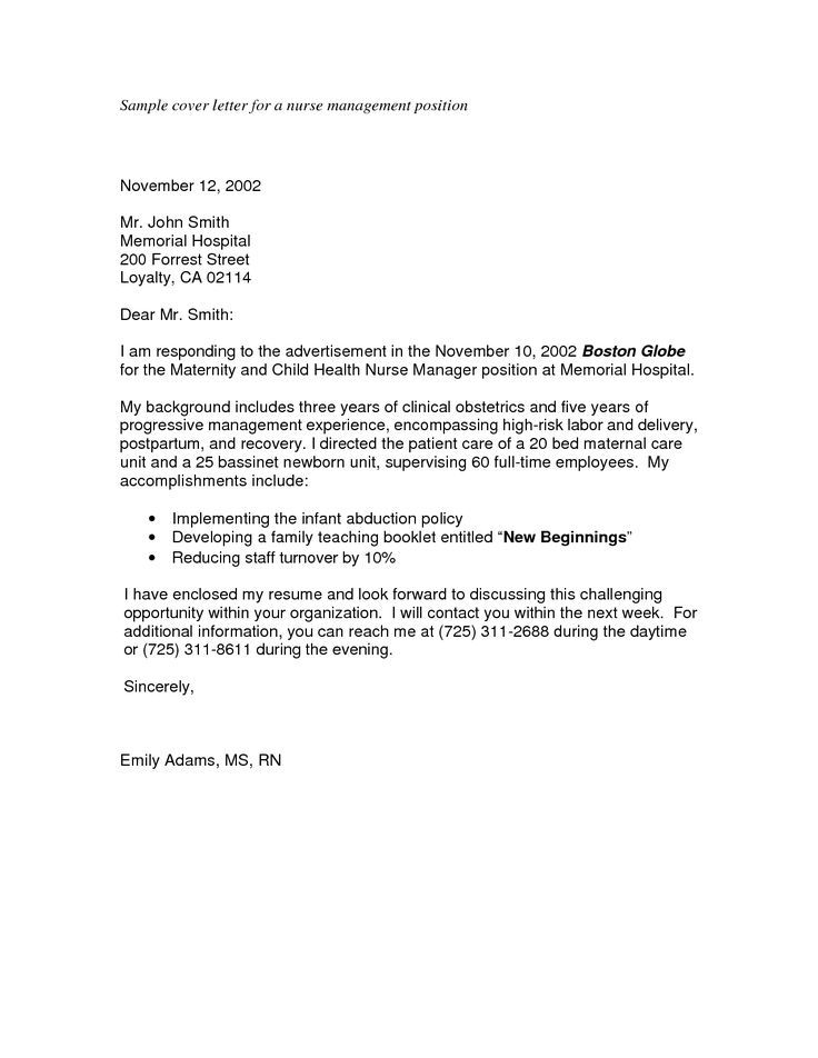 Nursing Cover Letters Cover Letters Sample Letter For Nurse Management Position Job