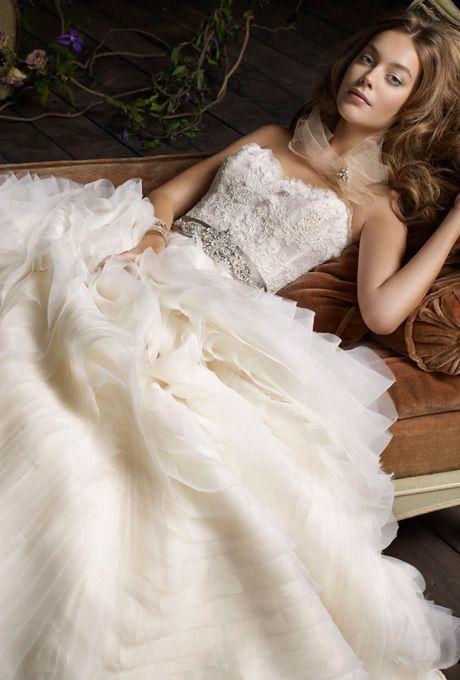 Brides Lazaro Organza Wave Ball Gown Sheer Alencon Lace Bodice With Petal