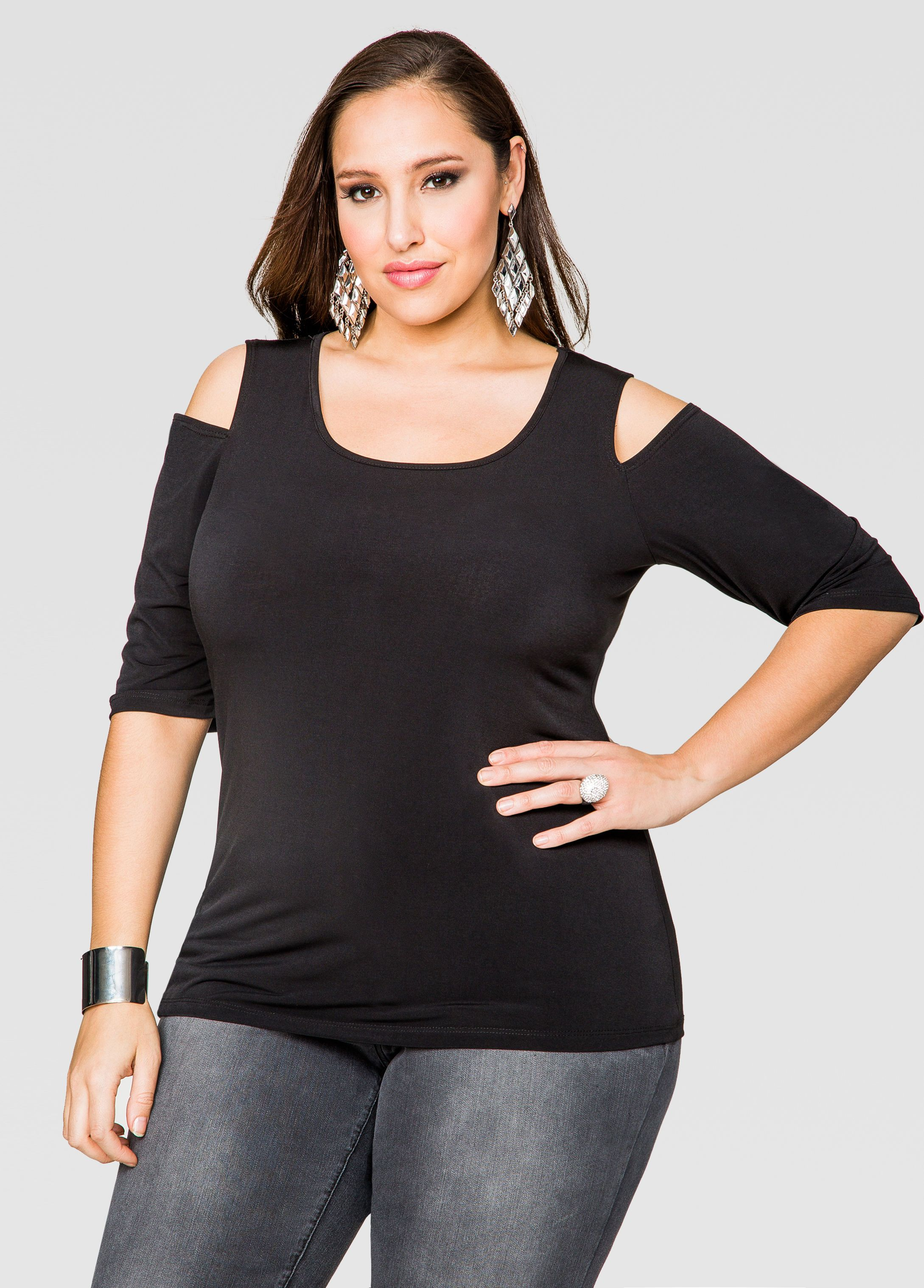 1e3e1bcaae400 Half Sleeve Cold Shoulder Top - Ashley Stewart