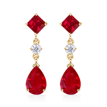 Angara Square Natural Ruby and Diamond Drop Earrings in Yellow Gold