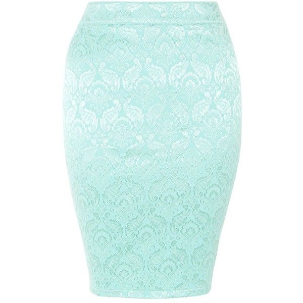 6269062e76 Madam Rage Mint Green Floral Jacquard Midi Skirt ($15) ❤ liked on Polyvore  featuring skirts, bottoms, floral printed skirt, midi skirt, zipper skirt,  ...