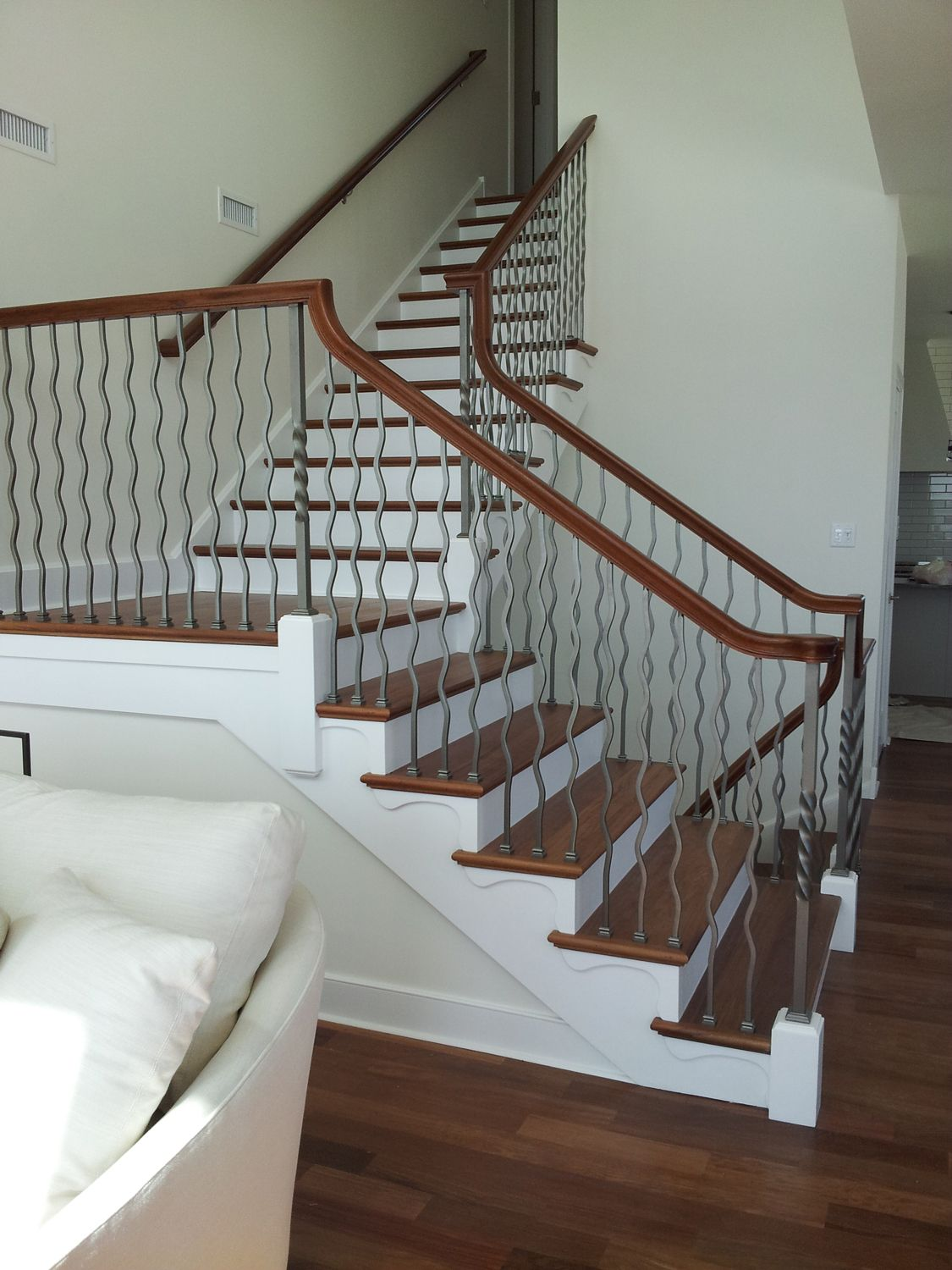 10mm Clear Tempered Glass Stair Railing With Brushed Nickel Glass Clamps Grandriverglass Com Glass Railing Stairs Glass Stairs Stairs Design
