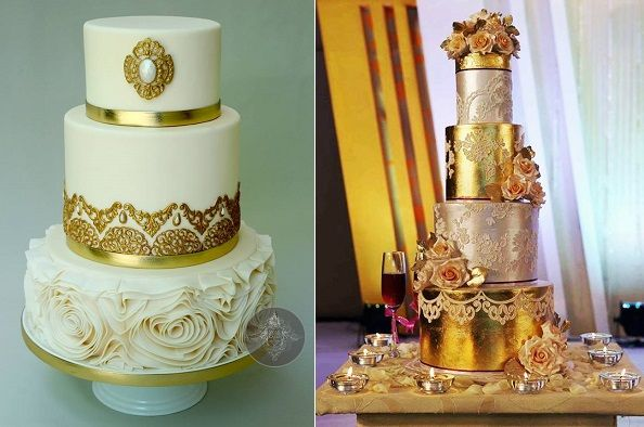 Gol With Wethin Cake Gold Wedding Lace And Metallic