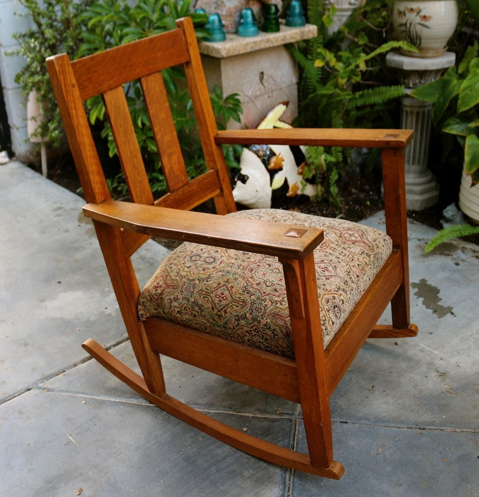 Antique Stickley Arts and Crafts Mission Style Oak Rocker with Dowels &  Mortises #MissionArtsCrafts # - Antique Stickley Arts And Crafts Mission Style Oak Rocker With