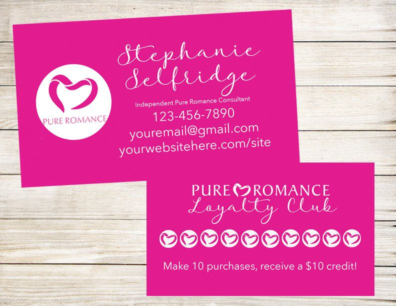 Pure Romance Business Card Calling Cards Contact Leads Loyalty Card Business Cards By Bizzybeecrea Pure Romance Pure Romance Consultant Pure Products