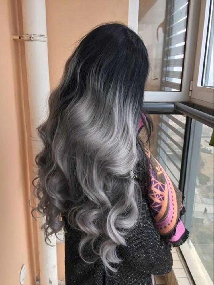678f76b27 100% European Real Human Hair Wigs Wavy Ombre Grey Lace Front Wig Full Lace  Wigs | eBay