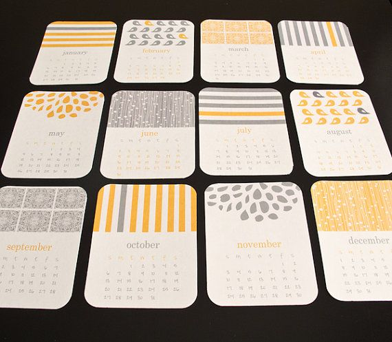 2014 Calendar - Printable wall or desk calendar - Gray and yellow print calendar -Instant Download