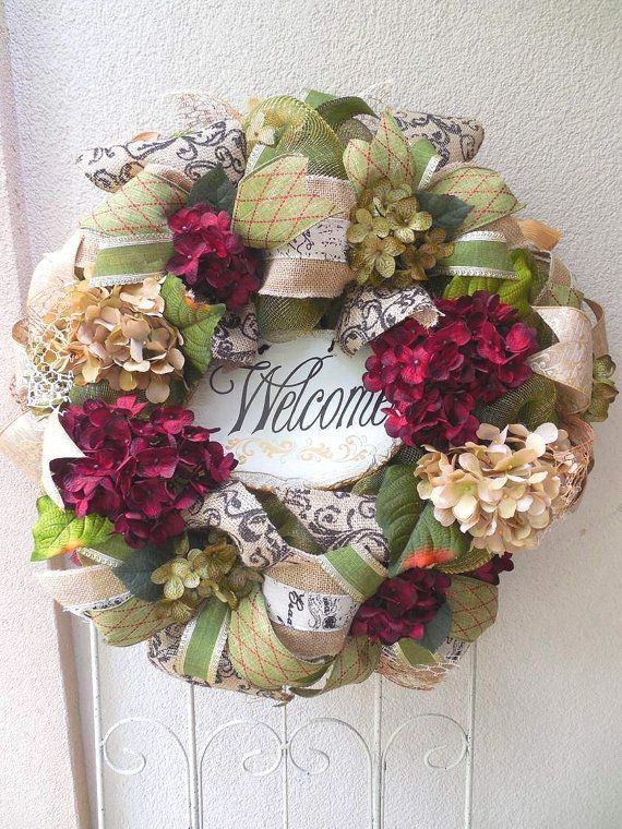 Mesh Wreaths For Door, Elegant Wreath, Welcome, Year Round Wreath, All  Season, Door Wreaths, Floral Wreaths, Hydrangeas. Deco Mesh