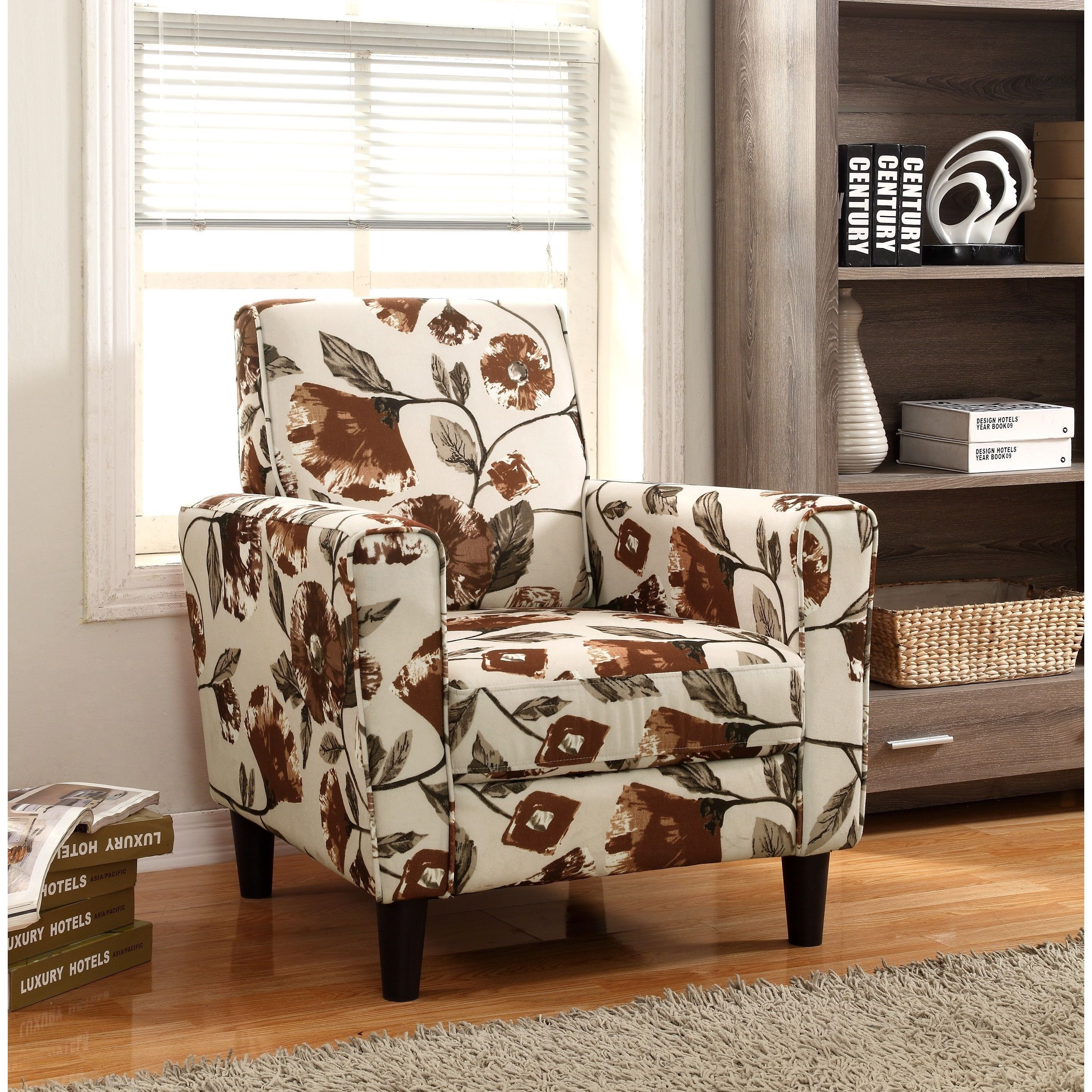 Accent Arm Chairs Modern Flower Pattern Fabric Accent Arm Chair Brown Pattern