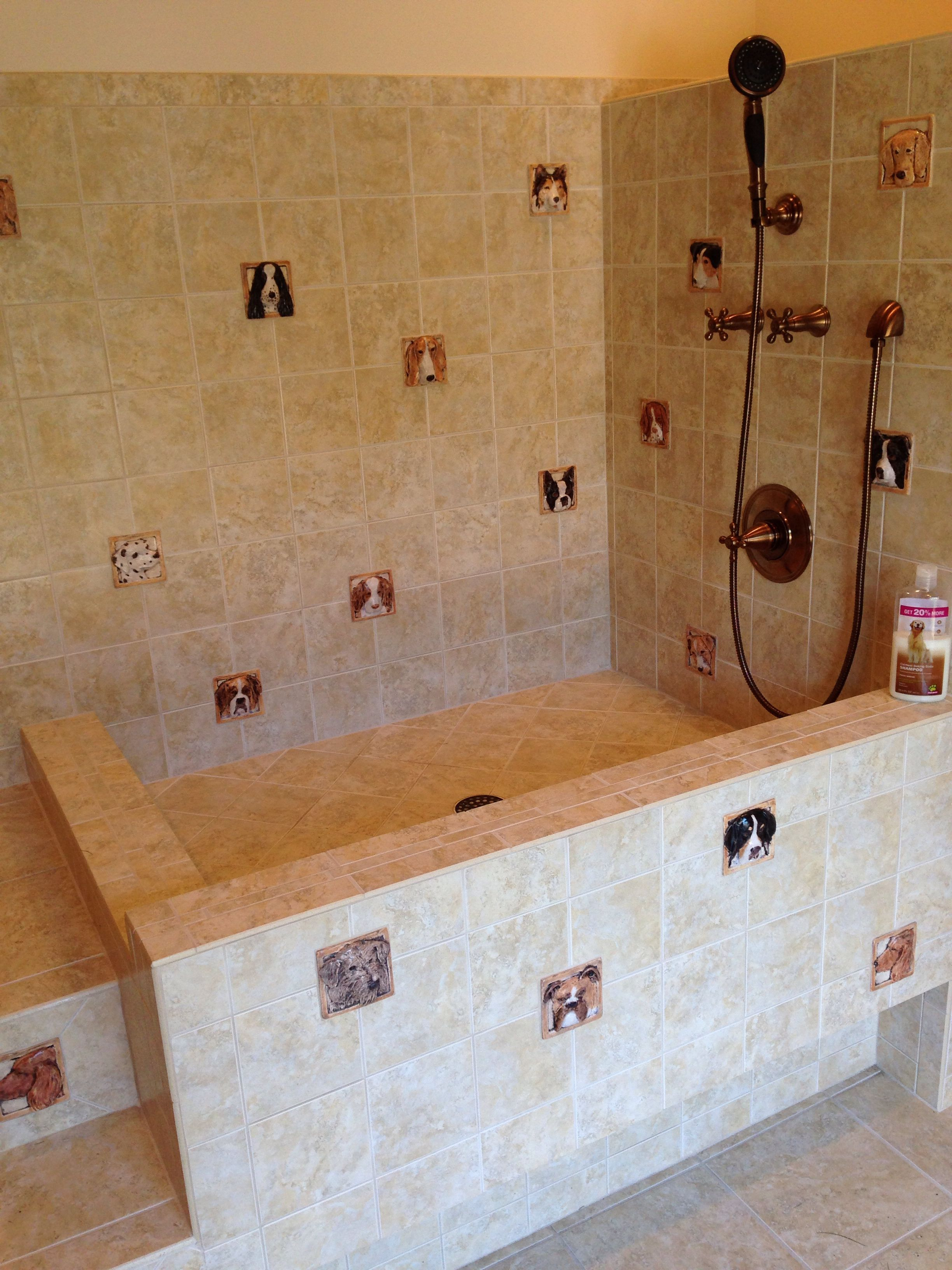Dog Bath Built In Stairs And Elevated Bath For Doggie Comfort