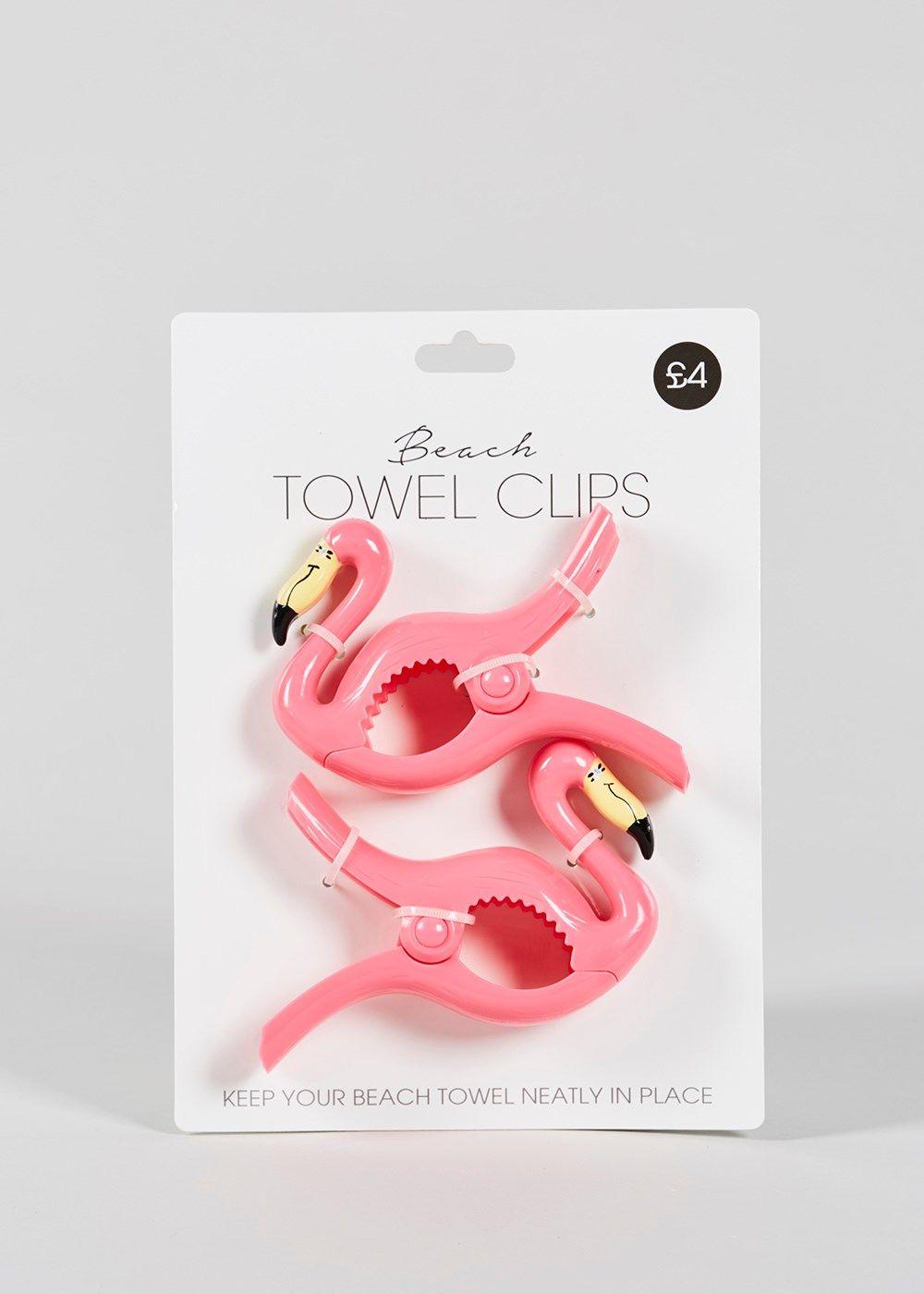 2 Pack Flamingo Beach Towel Clips (14cm x 9cm) – Matalan | Flamingo ...