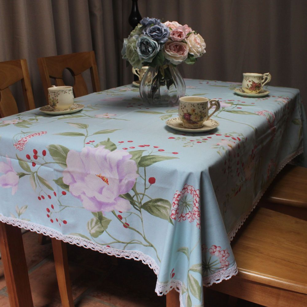 Light Blue Cotton Tablecloth For Coffee Tea Stores Home Decorative Table  Covers