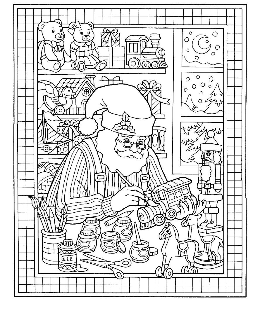 Christmas Santa Toy Shop Coloring Page Coloring books