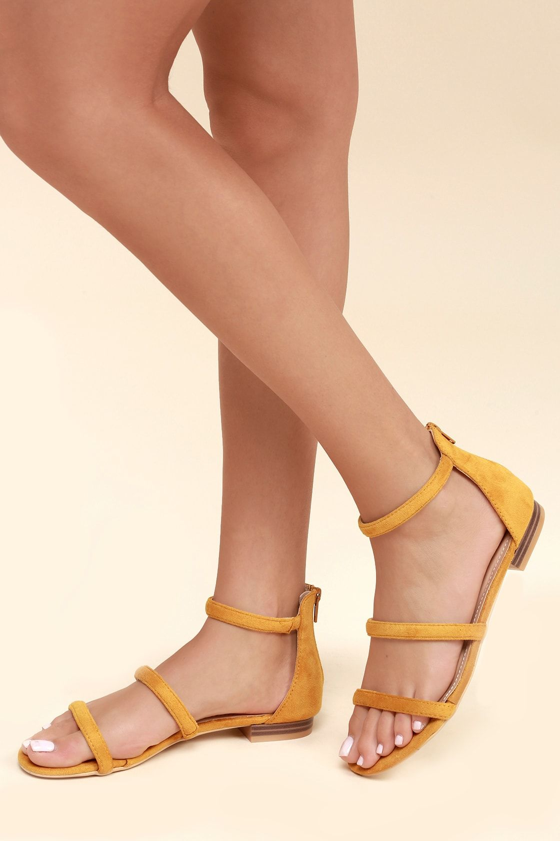 a4b2ff8cb991c Lulus | Quin Mustard Suede Flat Sandal Heels | Size 10 | Yellow ...