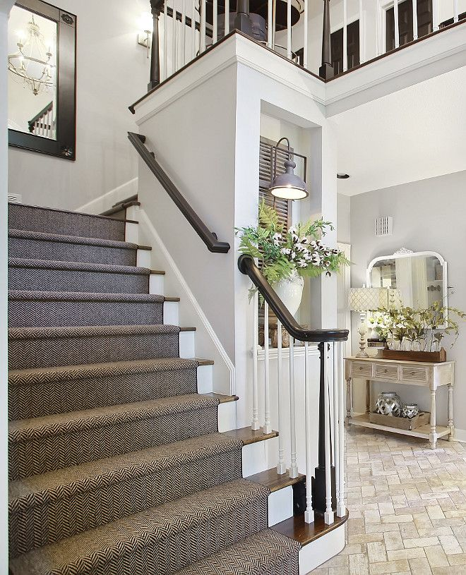 25 Pretty Painted Stairs Ideas: Staircase Reno Ideas Stair Railing And Post Are Painted In