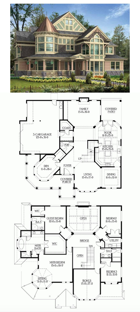 Victorian Style House Plan 4 Beds 3 5 Baths 3965 Sq Ft Plan 132 472 Victorian House Plans Basement House Plans Sims House Plans