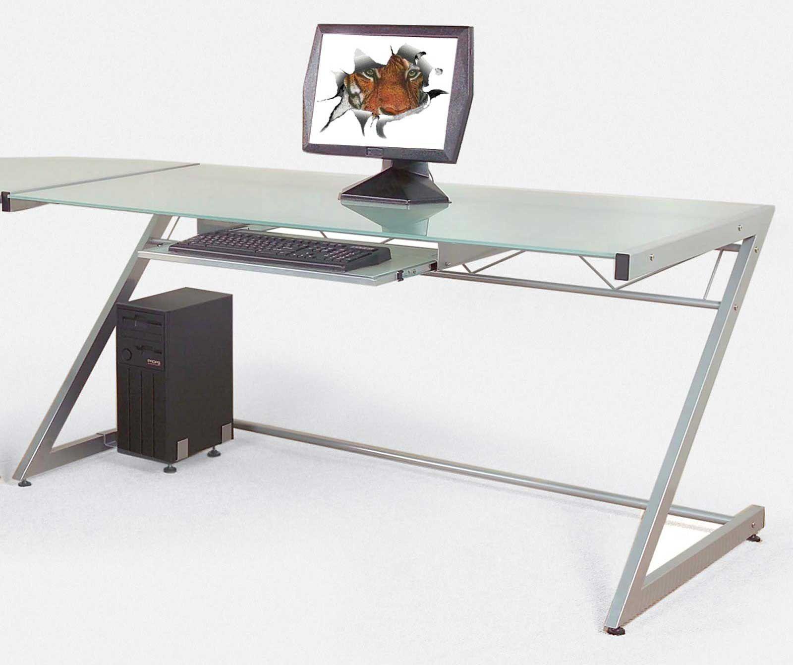 Ital Z Large Contemporary Computer Desks Glass Office Desk