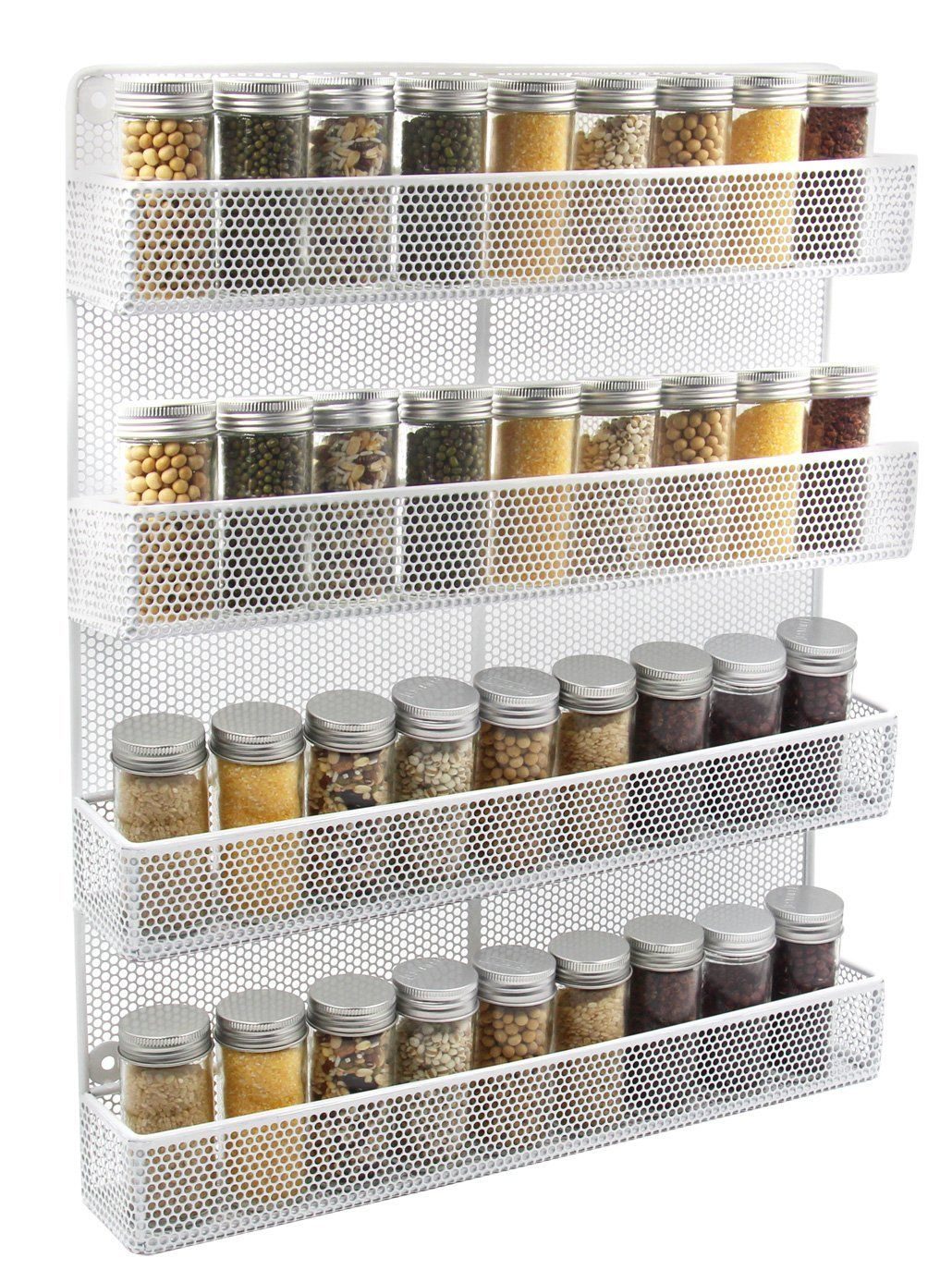 Amazon.com: ESYLIFE 4 Tier Wall Mount Spice Rack Organizer Large ...