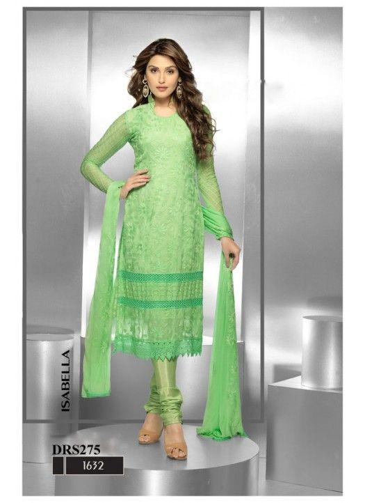 Kreckon Casual Wear Green Chiffon Dress Material