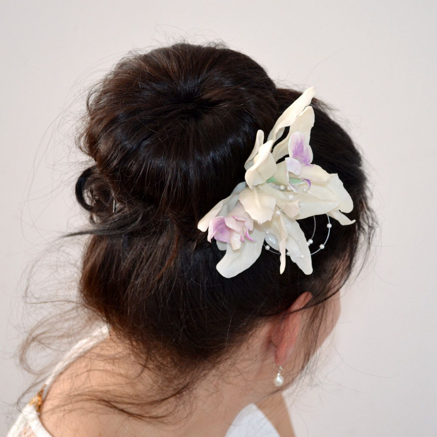 bridal headpiece for buns updos ~ large lily flowers