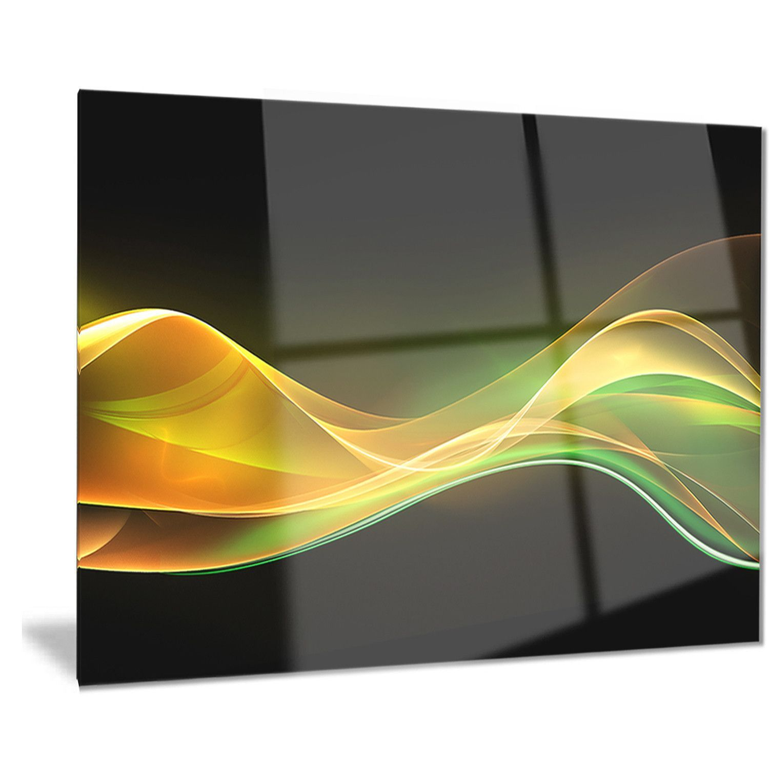 Designart \'3D Gold Green Wave Design\' Abstract Digital Art Metal ...
