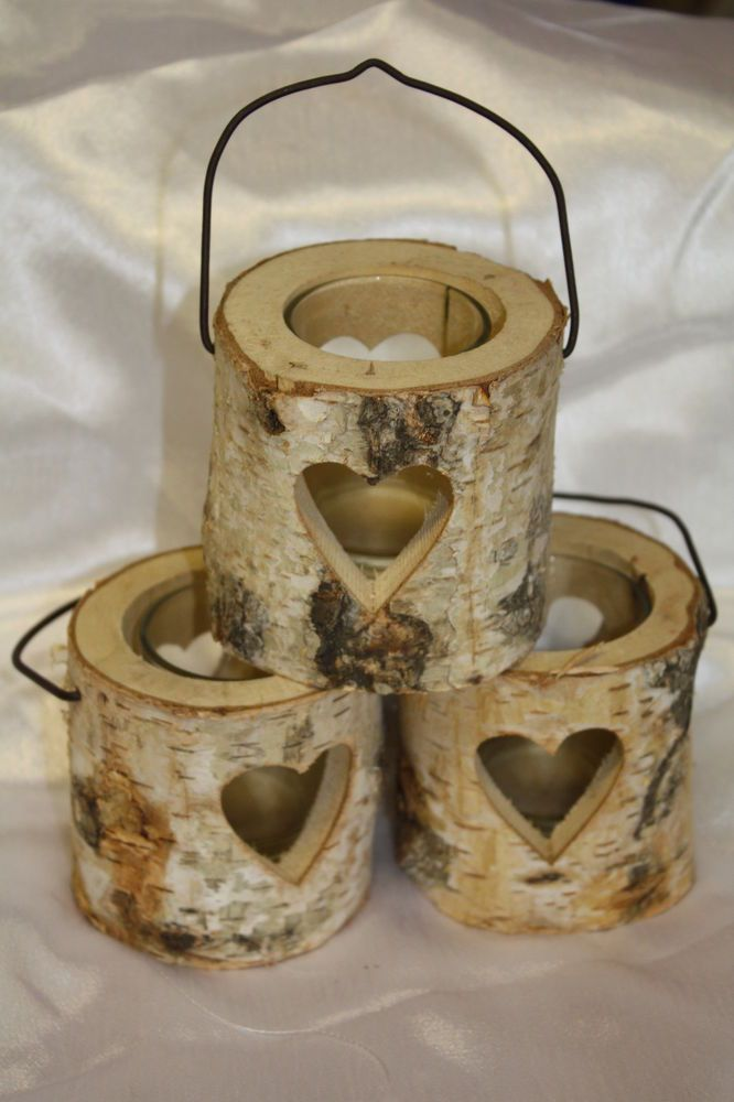 wooden rustic round bark tealight candle holder with cut out heart design tea light holder. Black Bedroom Furniture Sets. Home Design Ideas