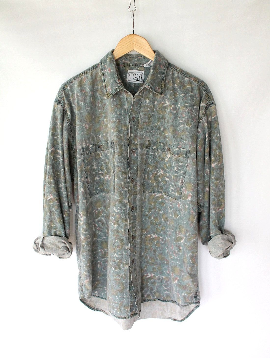 Vintage 80s Mens Faded Watercolor Print Button Up Shirt Cotton