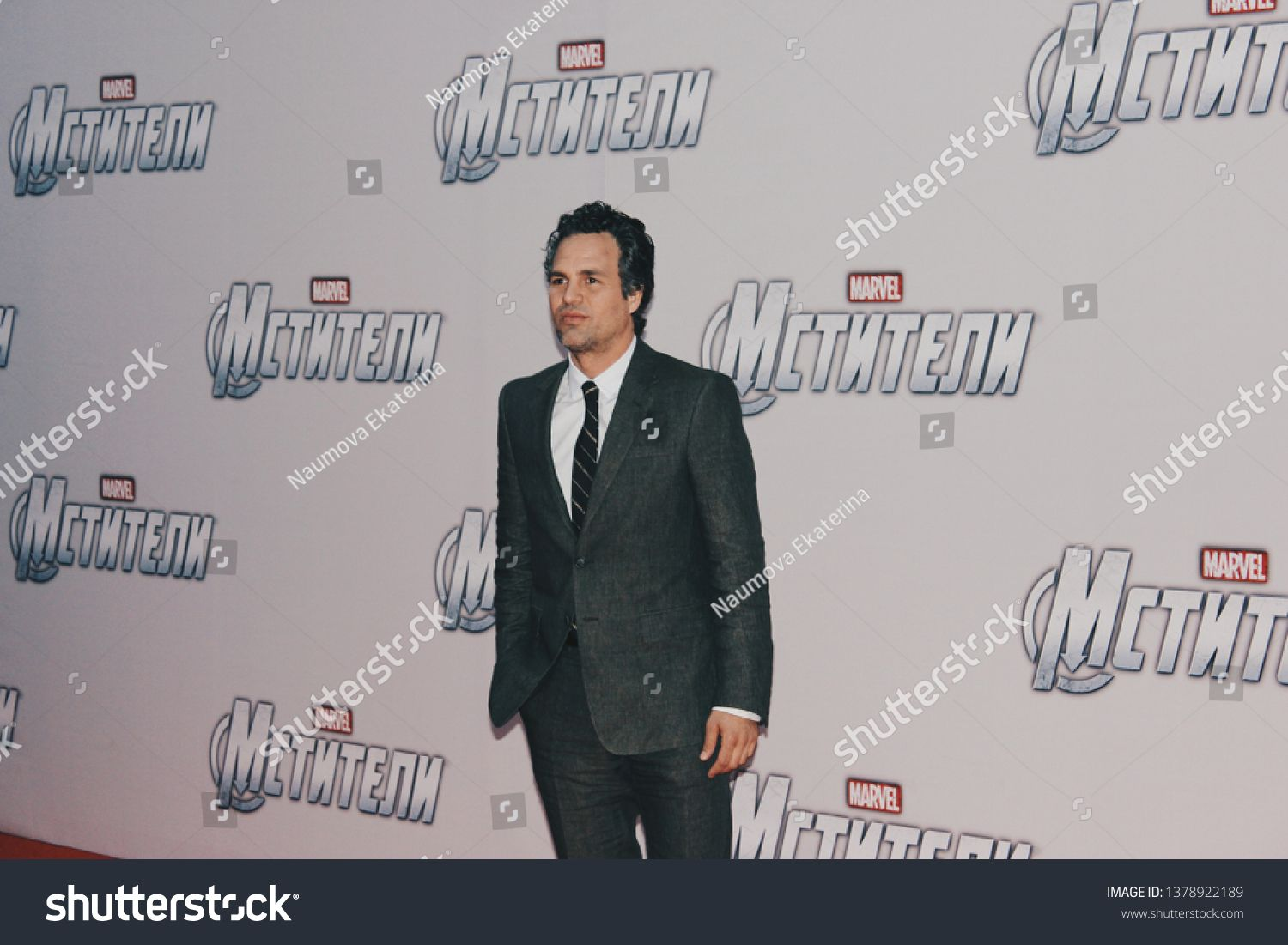 Moscow Russia April 17 2012 Mark Ruffalo At The Avengers Premiere At Cinema October Red Carpet Sign Says Ad Photo Editing Moscow Russia Stock Photos