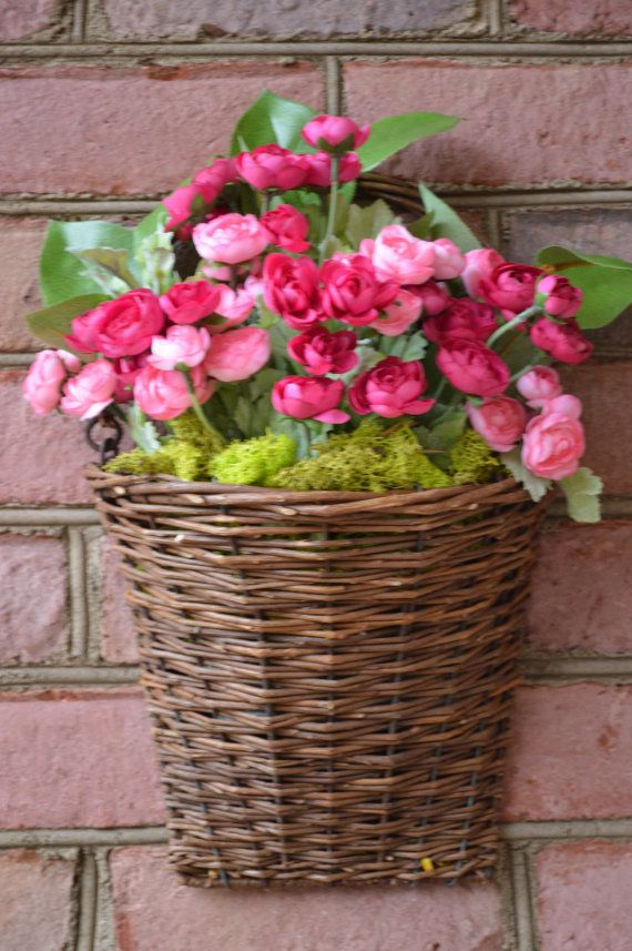 Perfect Spring Flowers, Spring Floral Arrangement, Grapevine Basket, Pink Flower  Arrangement, Front Door