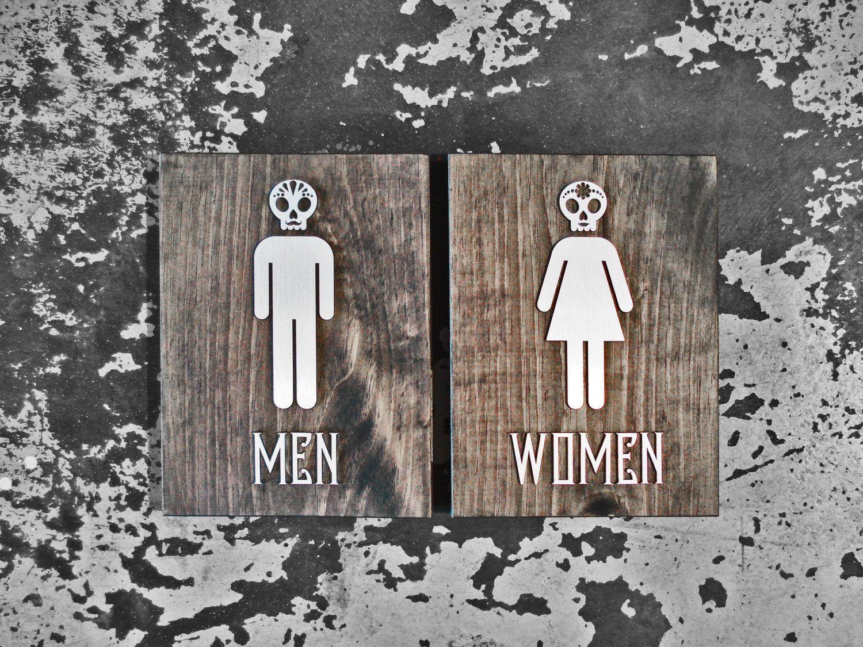 Day Of The Dead Bathroom Sign Set Dia De Los Muertos Custom