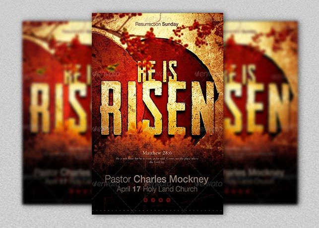 He Is Risen Church Flyer Template Is Designed For Church Events And Sermons  That Revolve Around