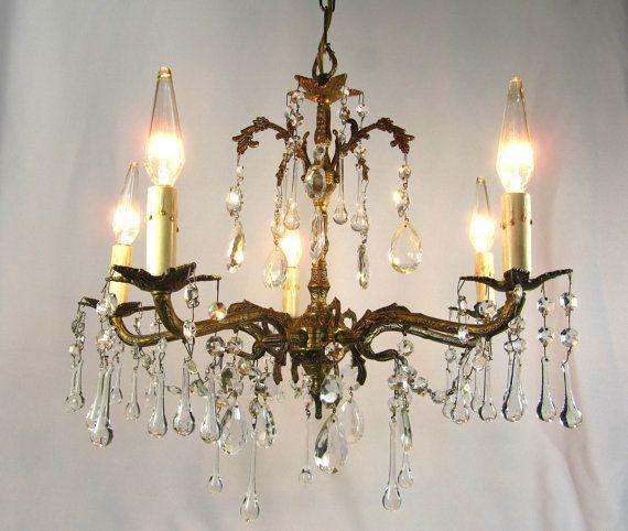 Vintage Chandelier Crystals Spanish Brass 5 Lights Fixture Prisms Made in  Spain - Vintage Chandelier Crystals Spanish Brass 5 Lights Fixture Prisms