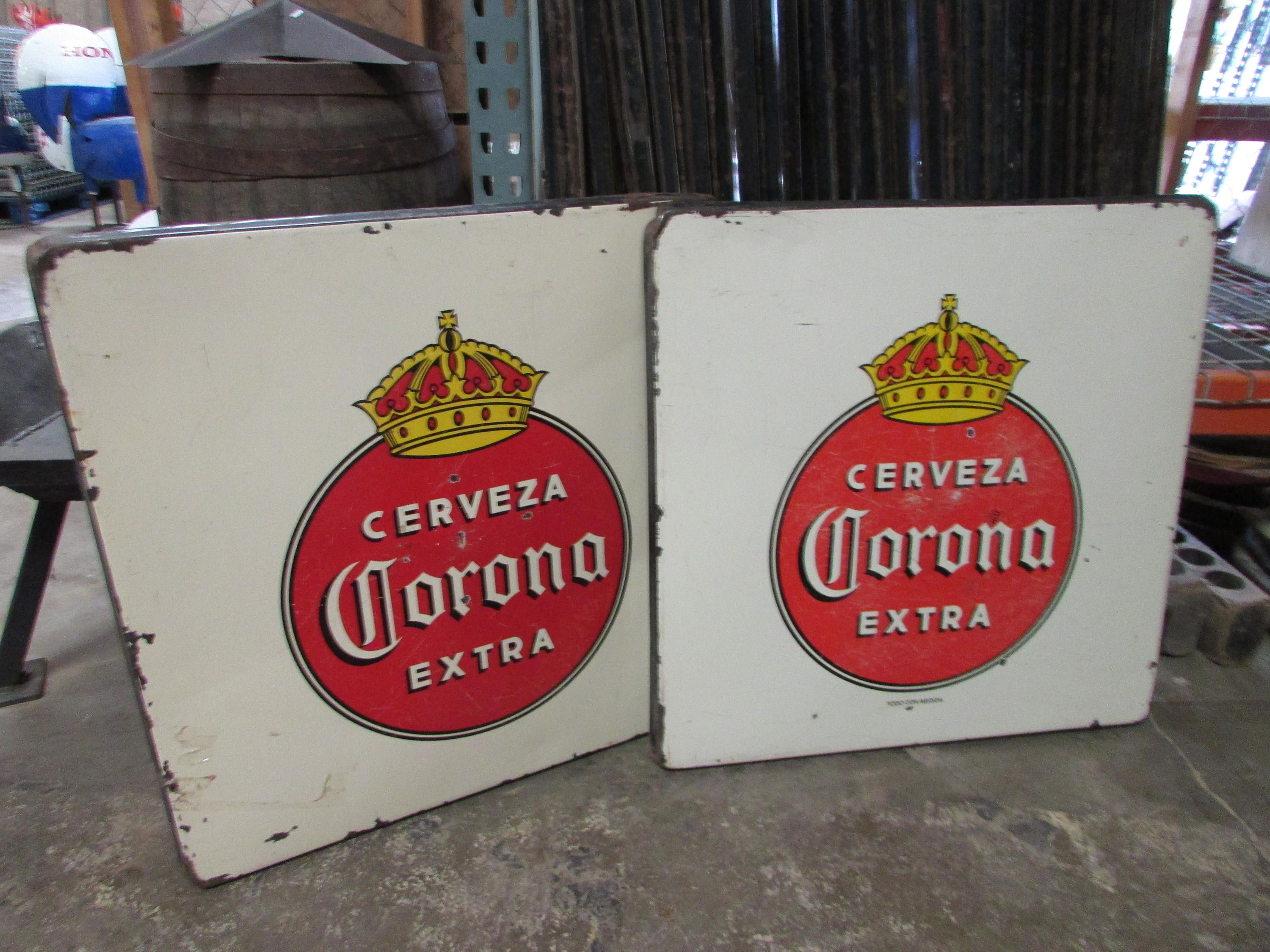 Corona Metal Table Porcelain Top-Old Mexican-Restaurant Bar-30x30-Top Only