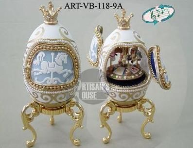 "Genuine+Faberge+Eggs | Close Window ""Merry-Go-Round""Faberge Style Boxes Genuine Goose Eggs"