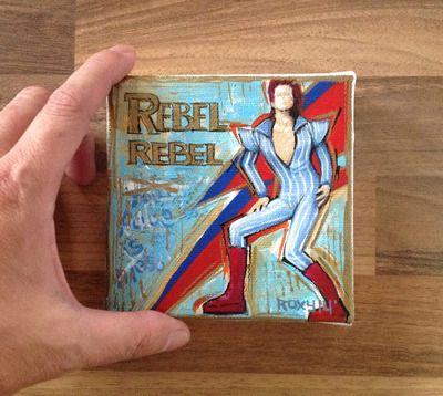 Tiny painting / David Bowie - rebel rebel / 10 X 10 cm /  Original painting printed on canvas