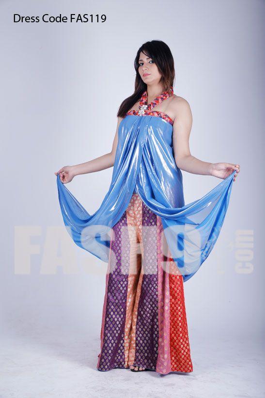Dress Code: FAS119Sky Blue Wetern Style Maxi with Dhaka Pyjama for ...