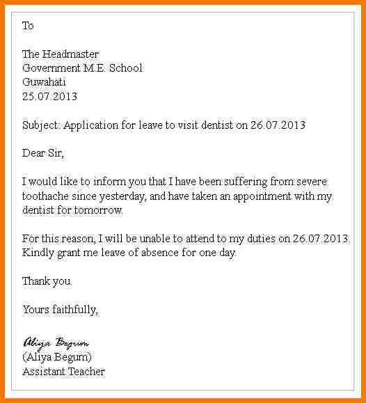 Sample Letter Application For Leave Appeal Letters School And
