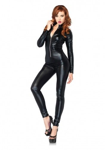 ... women s y rocker biker zipper front black catsuit outfit; halloween costume ...  sc 1 st  The Halloween - aaasne & Female Biker Halloween Costume - The Halloween