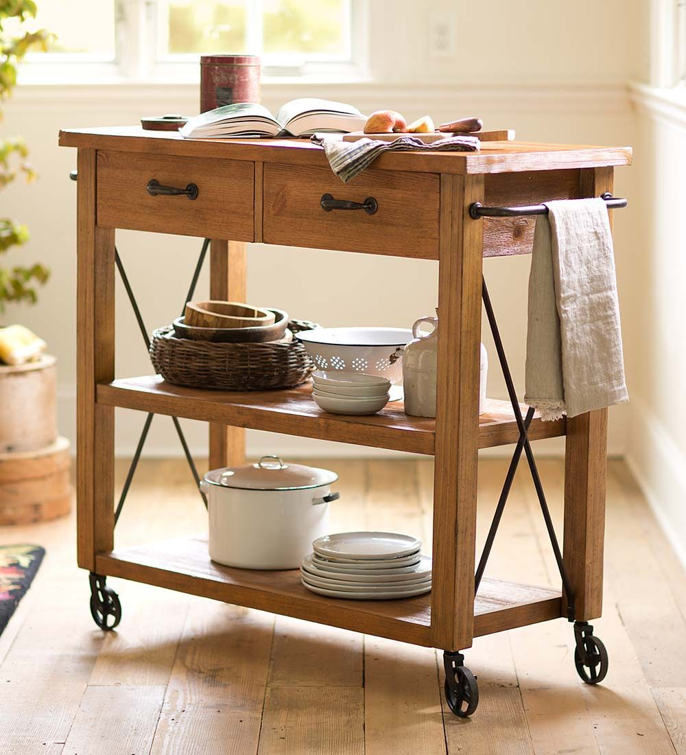 Rolling Wood Kitchen Cart Kitchen Furniture The Heavy Iron Hardware And Wheels Create A Vintage Feel That W In 2021 Rolling Kitchen Cart Kitchen Cart Wooden Kitchen Wooden kitchen cart on wheels