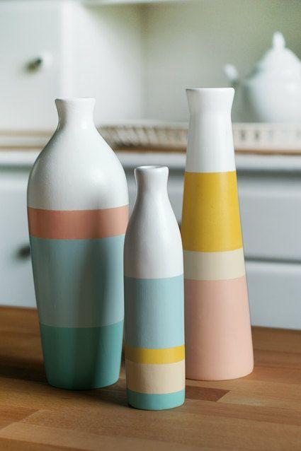Conjunto De 3 Pintado Ceramica Floreros Home Decor